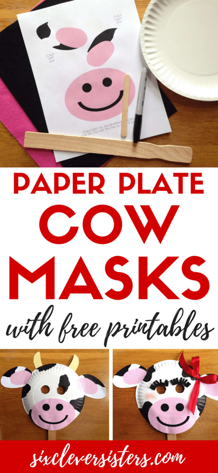 Chick-fil-a Cow Appreciation Day | Cow Appreciation Day Ideas | Chick-fil-A Cow Mask | Chickfila Cow Day | Paper Plate Crafts | Paper Plate Cow | Paper Plate Cow Craft | Cow Mask | Cow Mask for Kids | CFA | Chickfila Cow Appreciation Day Rules | Chickfila Day | Cow Face | Are you ready to #eatmorechikin ? If you're a family that loves Chick-fil-a, you know what Cow Appreciation Day means! And, Six Clever Sisters has easy cow masks ideas for you for the whole family!