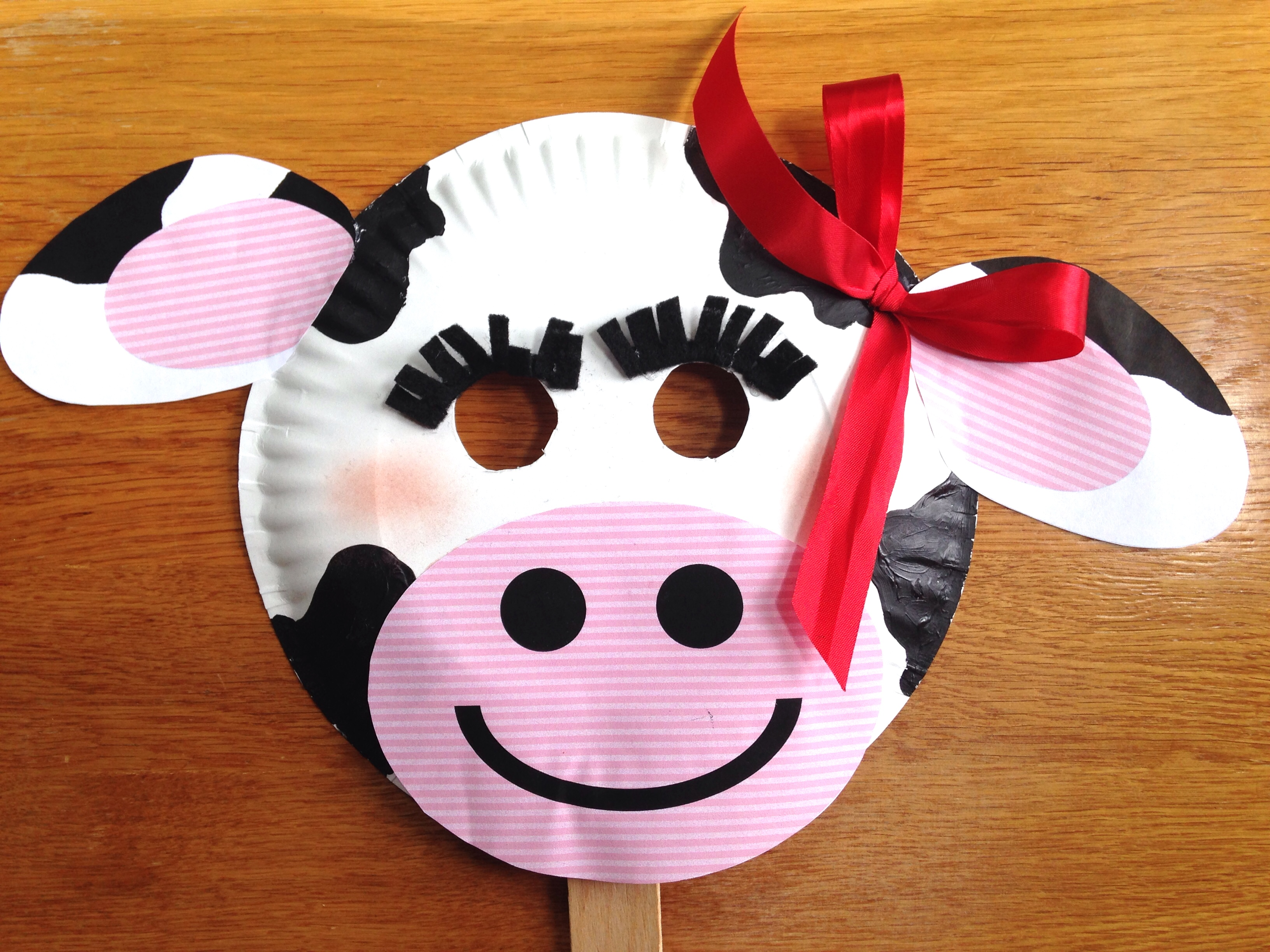 photograph relating to Free Printable Cow Mask called Chick-fil-A Cow Working day Paper Plate Cow Masks With Totally free