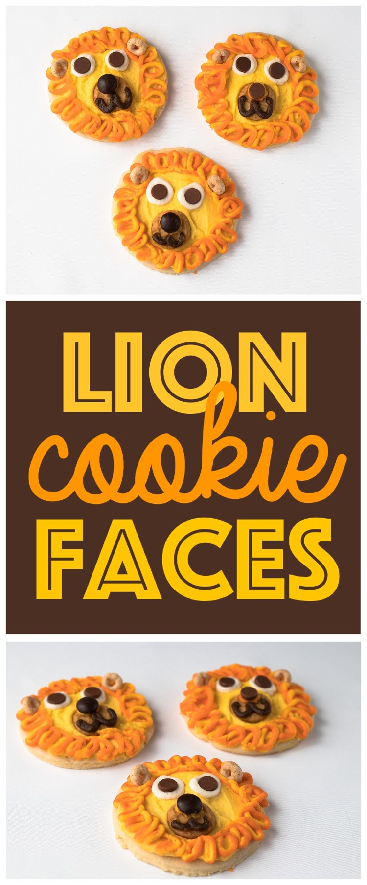 Lion face cookies easy animal face kid food snack idea six animal face cookies kid snack ideas animal faces fun food idea lion forumfinder Image collections
