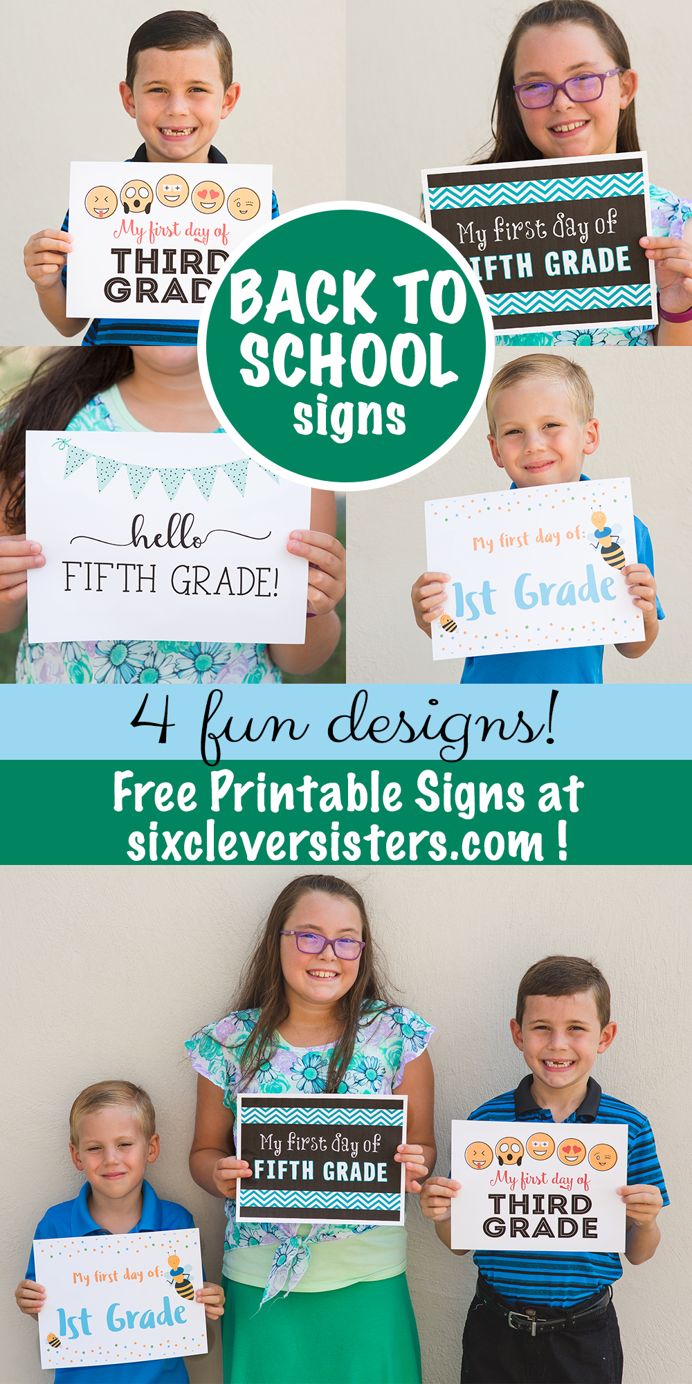 graphic relating to Printable Back to School Signs called Back again towards University Indications Free of charge Printables - 6 Intelligent Sisters