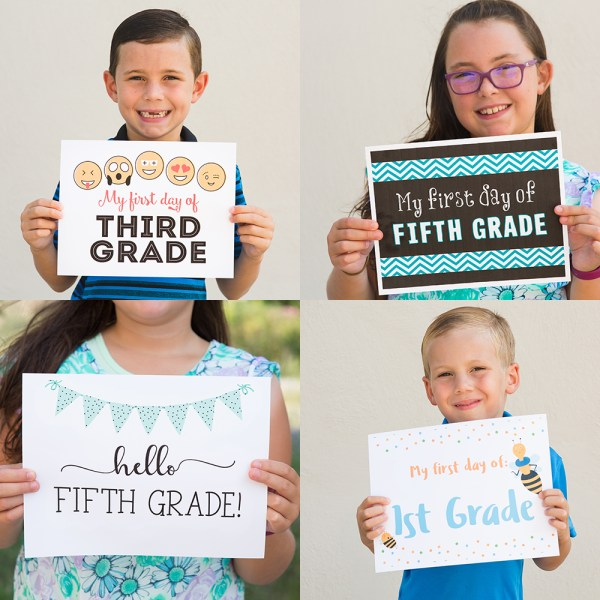 Back to School Signs | Back to School Signs free printable | Back to School Signs free | First day of school signs | first day of school signs free | first day of school signs free printable | first day of school signs printable | Download and print these #firstdayofschool signs on the #sixcleversisters blog!