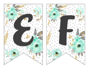 photograph relating to Printable Letter Banners named Cost-free Printable Alphabet Banner MINT GOLD - 6 Intelligent Sisters