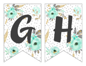 ... Free Printable Alphabet Banner Mint And Gold | Free Printable Letters  For Banners | Free Printable ...