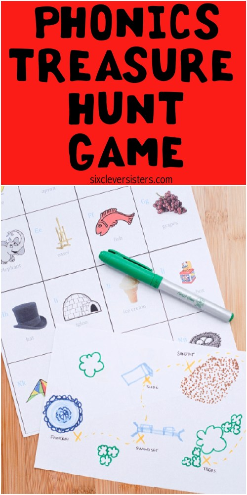 Phonics Games | Phonics Activities | Phonics Kindergarten | Phonics Games Kindergarten | Phonics Treasure Hunt Game | Game details on the Six Clever Sisters blog!