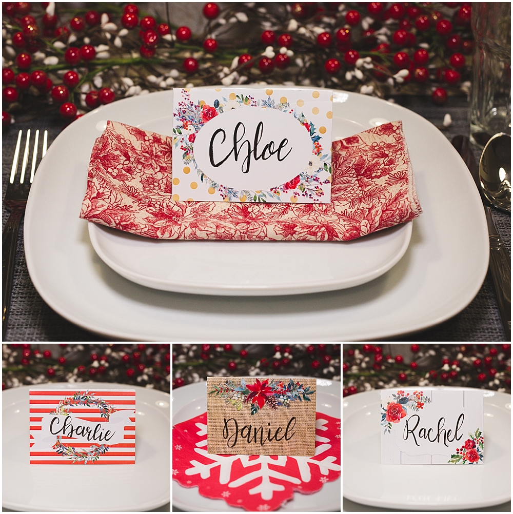 christmas table place cards free printable six clever sisters