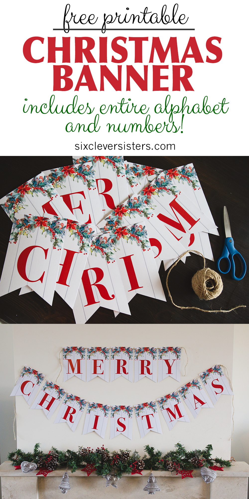 Printable Merry Christmas Banner Six Clever Sisters