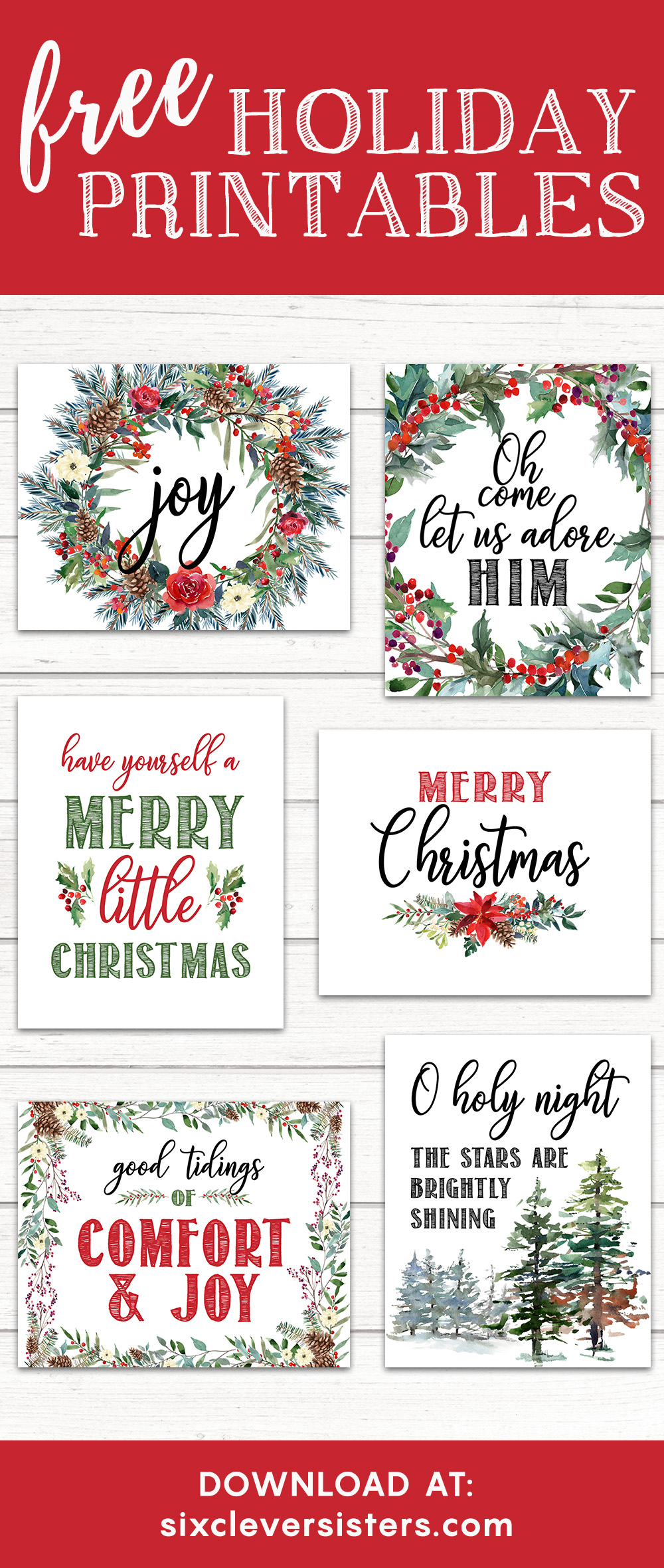 photo about Merry Christmas Printable referred to as 6 Totally free Printable Xmas Symptoms - 6 Smart Sisters