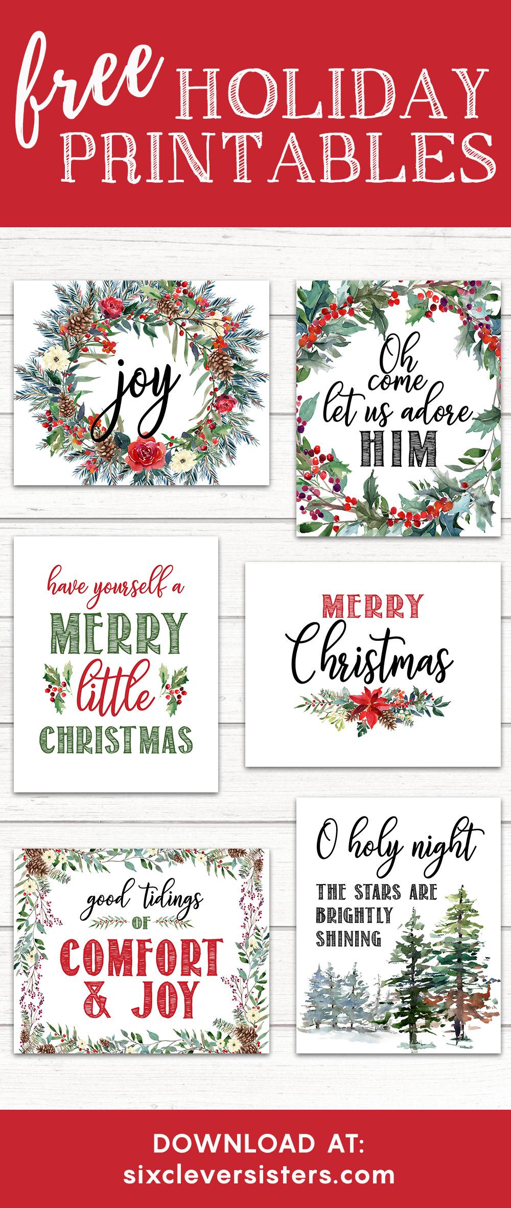 image regarding Printable Merry Christmas Sign named 6 No cost Printable Xmas Indications - 6 Smart Sisters
