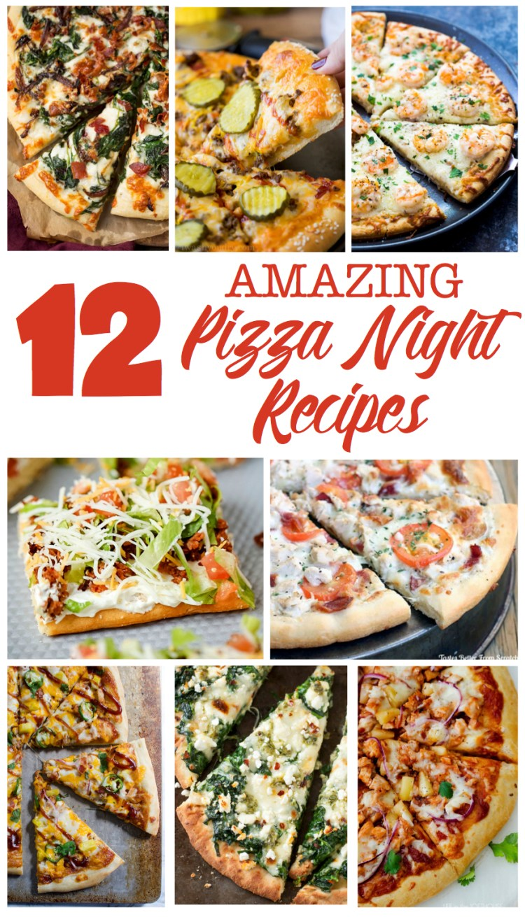 Amazing Pizza Night Recipes | Pizza | Recipe | Family Pizza Night | Pizza Recipes | Pizza Dough | Pizza Night Ideas | Pizza Night Party | Pizza Recipes Easy | Pizza Recipes Homemade | Pizza Recipes Healthy | Taco Pizza | Garlic Ranch Pizza | Pretzel Crust | Check out these 12 amazing pizza recipes at sixcleversisters.com!