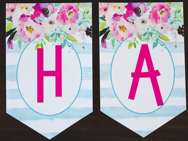 Free Printable Birthday Banner Floral | Free Printable | Happy Birthday | DIY Banner | Birthday Banner Letters | Printable Alphabet | Alphabet Banner Free Printable | Download this floral birthday banner (+ entire alphabet!) to DIY a banner for your next event! On the Six Clever Sisters blog