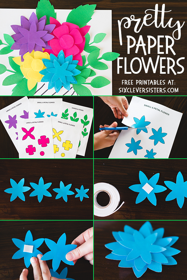 Paper Flowers | Paper Flower Template | Printable Flowers | Printable Flower Template | Printable Flowers Free | Printable Flowers Cutout | These flowers are available in several color choices on the Six Clever Sisters blog!