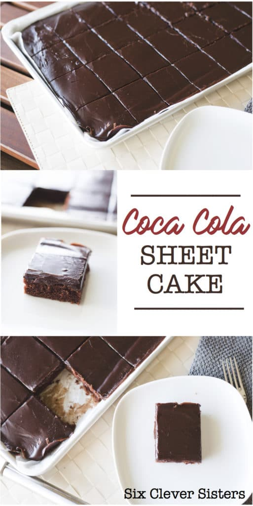Coca Cola Sheet Cake | Cola Cake | Coca Cola Cake | Dessert Recipe | Cake | Chocolate Cake | Chocolate | Sheet Cake | Sheet Cake Recipe | Dessert for a Crowd | Desserts Easy | Dessert Recipes | Six Clever Sisters