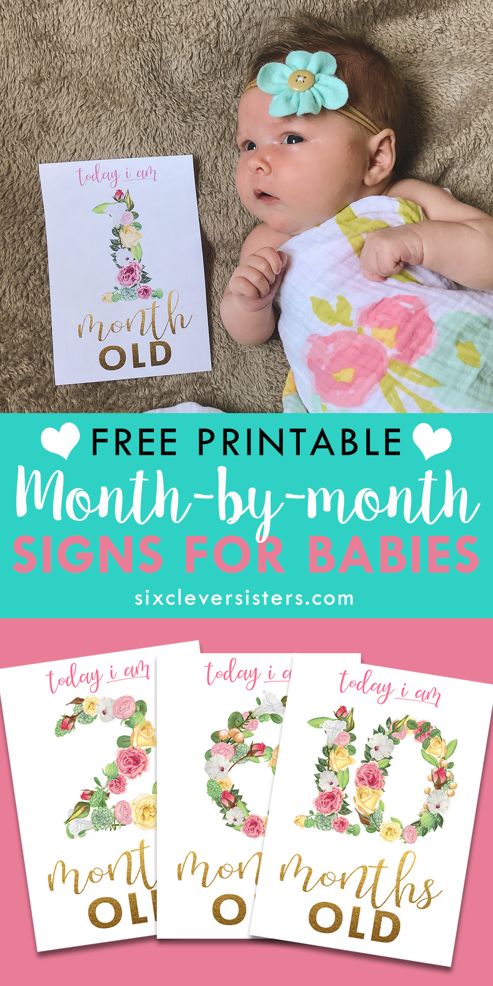 photo relating to Printable Baby Month Signs referred to as Floral Thirty day period Indications for Youngster Visuals - 6 Sensible Sisters