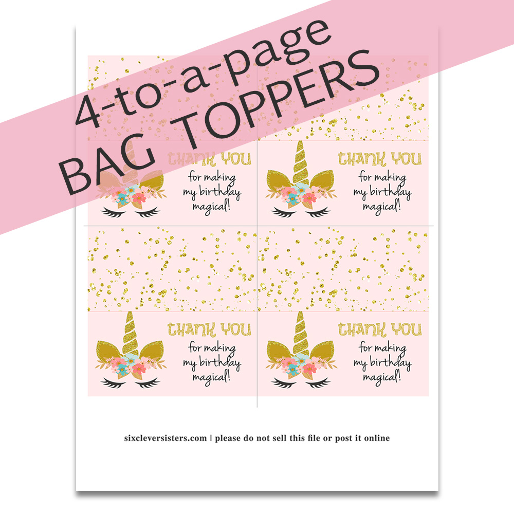 photograph relating to Free Printable Bag Toppers titled Unicorn Deal with Luggage (+ Cost-free Printable) - 6 Intelligent Sisters
