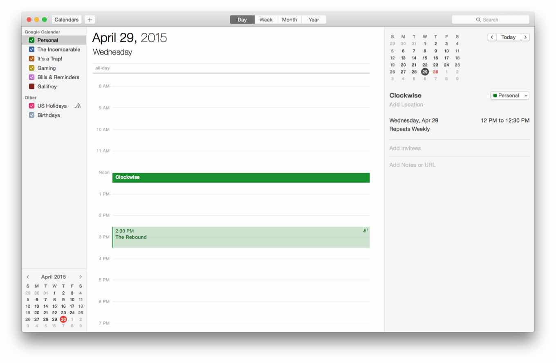 Calendar white space