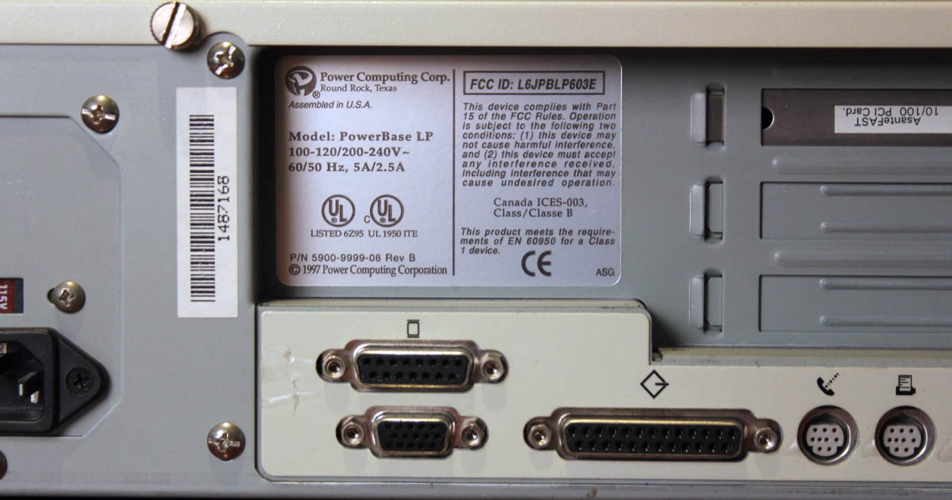 Back of a Power Computing PC