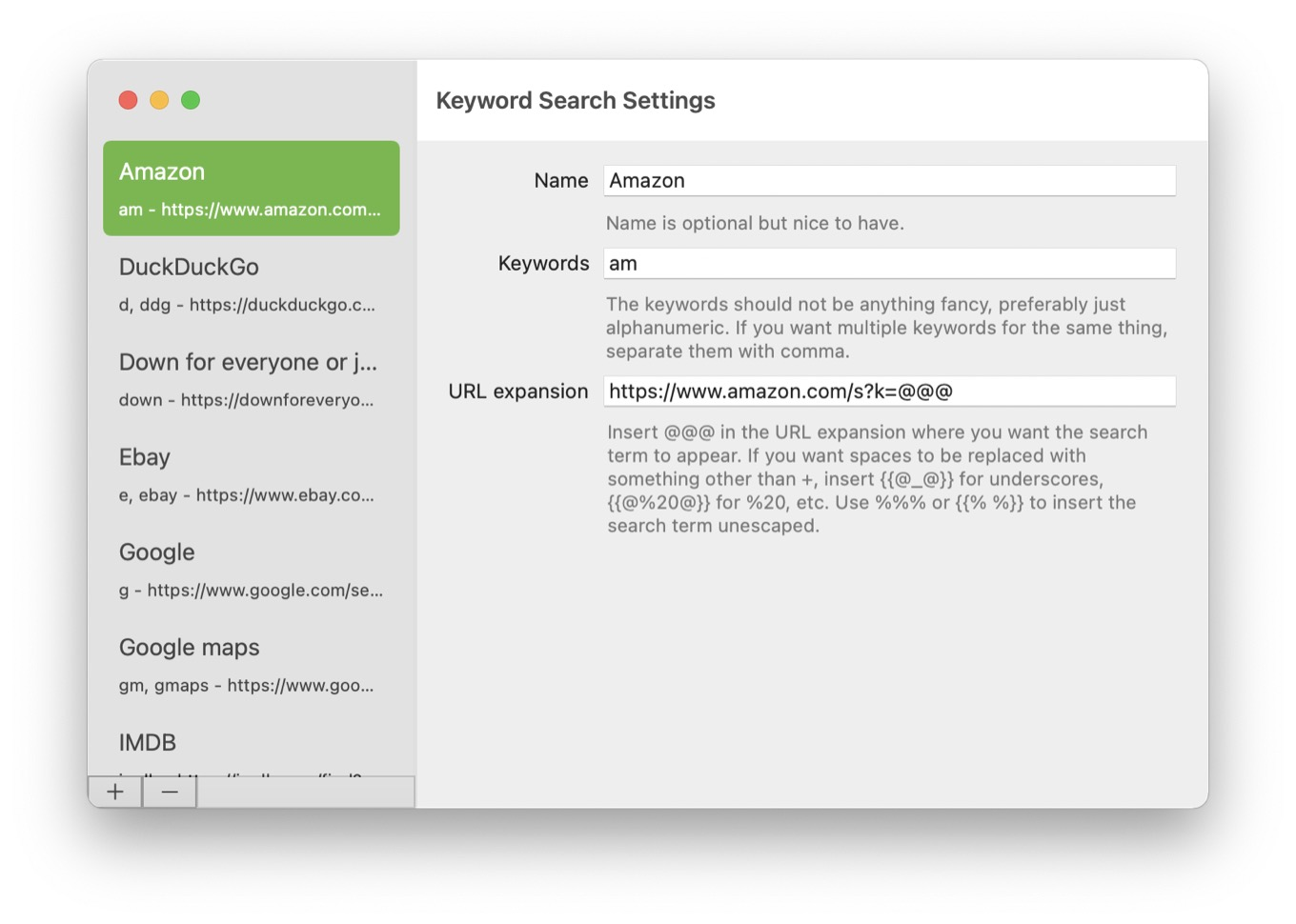 Safari Keyword Search