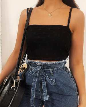 Black Mesh Spot Print Crop Top - 14 / BLACK