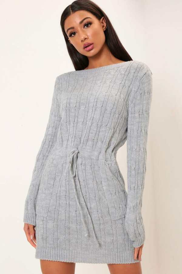 Grey Cable Knit Long Sleeve Dress - OS / GREY