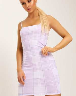 Lilac Check Print Strappy Square Neck Bodycon Dress - 6 / PURPLE