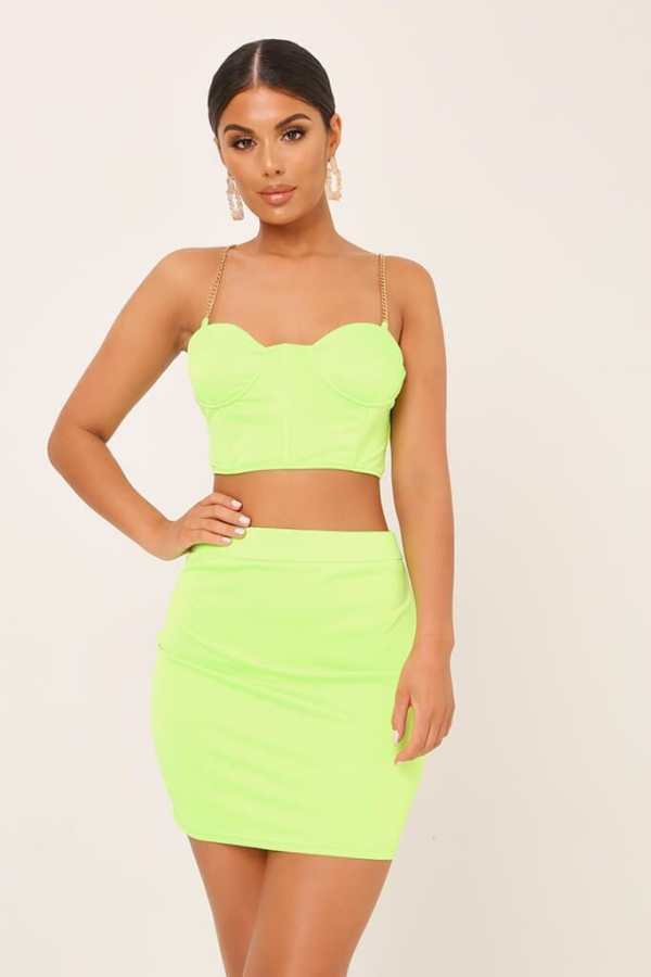 Neon Lime Chain Satin Bralet - 6 / GREEN