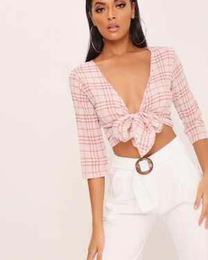Pink Pink Check Tie Front Crop Top - 6 / PINK