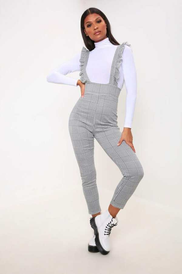 White/Black Gingham Ruffle Jumpsuit - 6 / MULTI