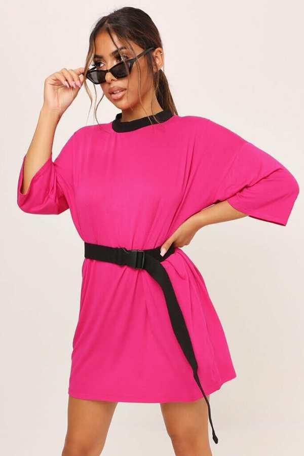 Fuchsia Oversized T-Shirt Dress - 6 / PINK