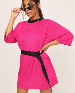 Fuchsia Oversized T-Shirt Dress - 6 / PINK