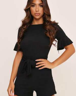 Black Jumbo Rib Tie Waist Frill Sleeve Playsuit - 6 / BLACK