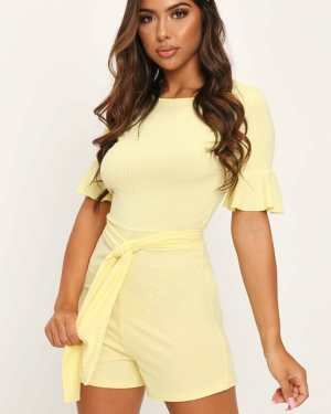Lemon Jumbo Rib Tie Waist Frill Sleeve Playsuit - 16 / YELLOW