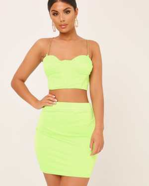 Neon Lime Chain Satin Bralet - 8 / GREEN