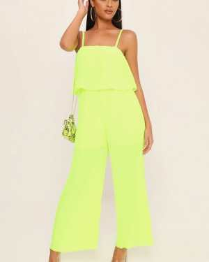 Neon Lime Pleated Culotte Jumpsuit - S / GREEN