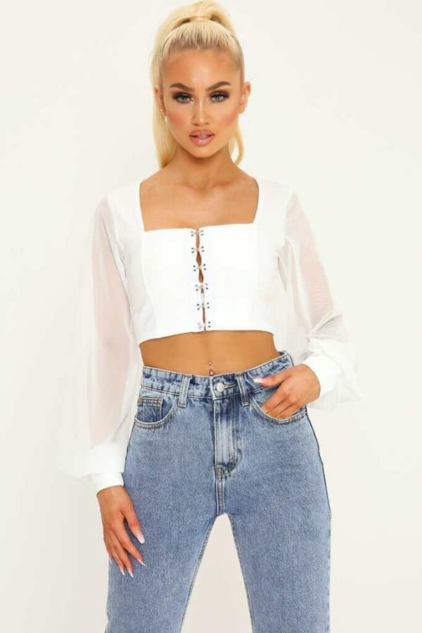 White Mesh Sleeve Crop Top - 6 / WHITE