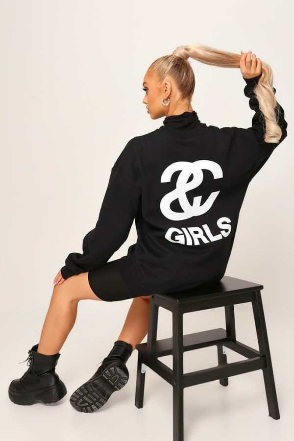 Black Black Sc Girl Oversized Sweatshirt - XXL / BLACK
