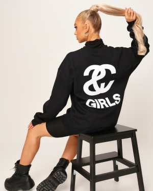 Black Black Sc Girl Oversized Sweatshirt - XXL / BLACK