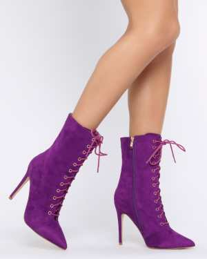 Purple Faux Suede Ankle Boots With Block Heel - 7 / PURPLE