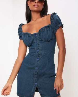 Blue Bardot Denim Button Through Mini Dress - 12 / BLUE