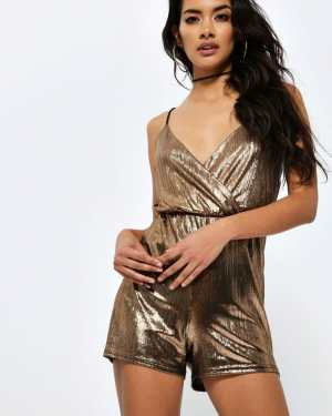 Bronze Metallic Cami Strap Playsuit - 14 / METALLIC