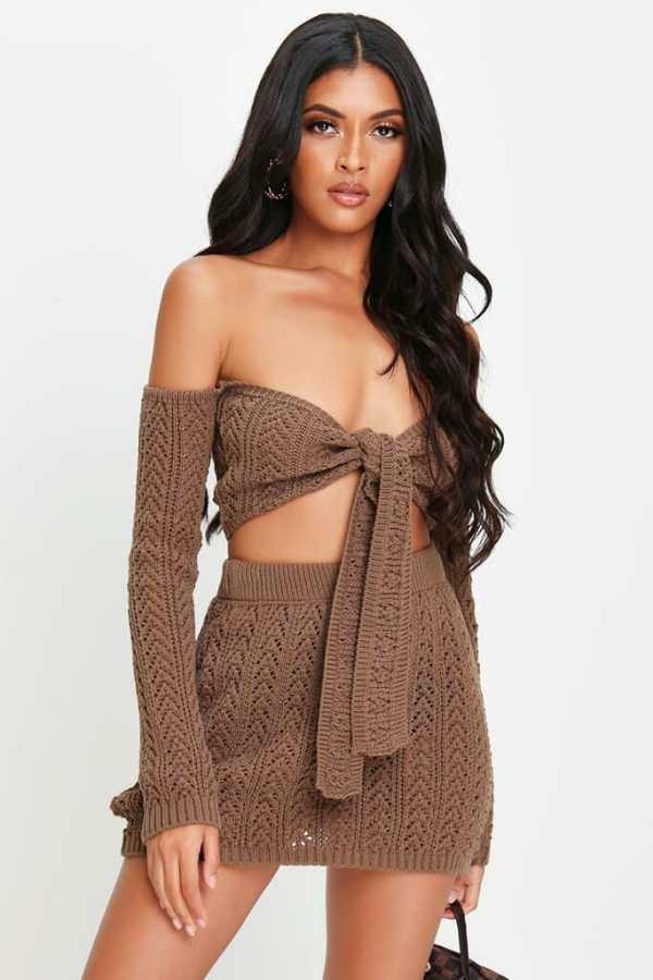 Brown Crochet Mini Skirt - 16 / BROWN