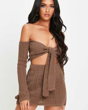 Brown Crochet Mini Skirt - 16 / BROWN