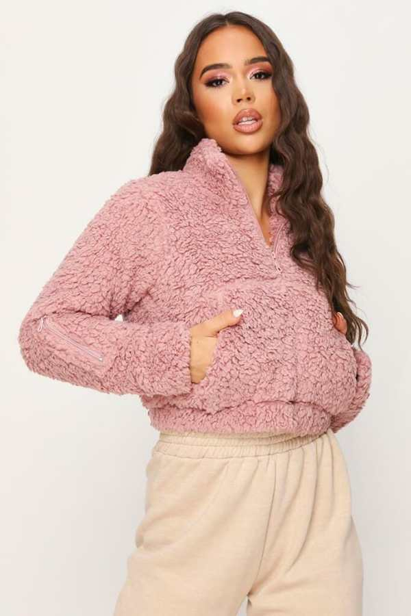 Dusky Pink Teddy Half Zip Jacket - XXL / PINK