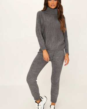 Grey Roll Neck Knitted Lounge Set - XL/XXL / GREY