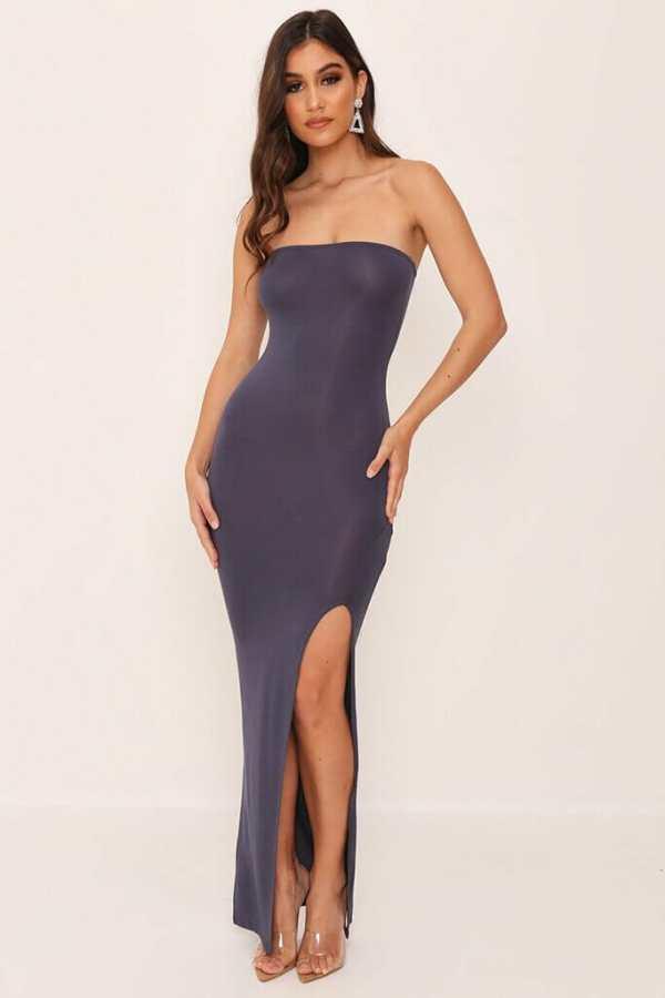 Grey/Dark Bandeau Basic Maxi Dress - 12 / GREY