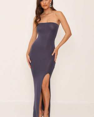 Grey/Dark Bandeau Basic Maxi Dress - 12 / GREY