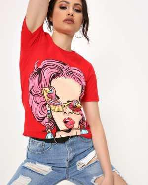 Red Long Hair Pop Art T-Shirt - XL / RED