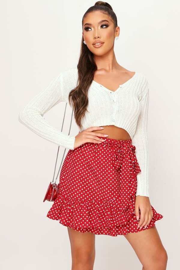 Red Polka Dot Frill Mini Skirt - 6 / RED