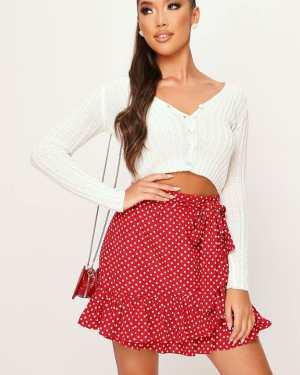 Red Polka Dot Frill Mini Skirt - 6 / RED