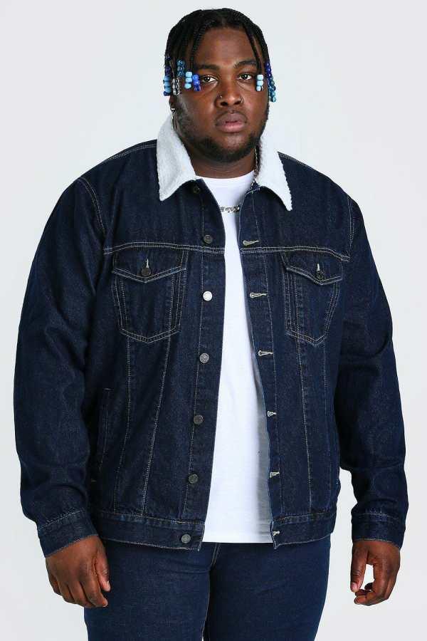 Mens Blue Plus Size Denim Jacket With Borg Collar, Blue
