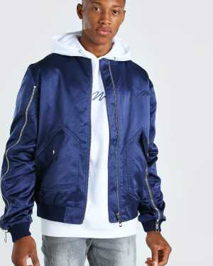 Mens Navy Zip Detail Bomber Jacket With Man Embroidery, Navy